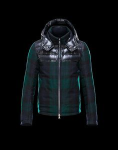 2014 Moncler Mens Down Jackets Green And Black Zipper Hooded Stand Collar