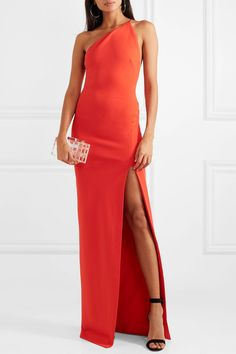 Solace London - Petch One-shoulder Stretch-crepe Gown - Red Sexy Dresses, Evening Dresses, Casual Dresses, Short Dresses, Prom Dresses, Xmas Party Dresses, Farewell Dresses, One Shoulder Dress Long, Dress Hairstyles