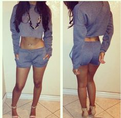 Sweatsuit ! Dress it up and dress it down! Cute!Buy top and bottow sweat suit. and cut it up cute for PAjamas