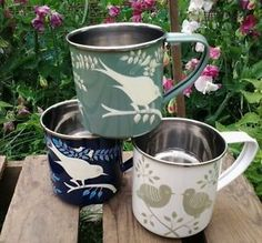 Our gorgeous garden bird enamel mugs are perfect for an afternoon cuppa. #Nkuku #garden Enamel-Mugs-Handpainted-Fairtrade-Mugs-Camping-Picnics-Festivals