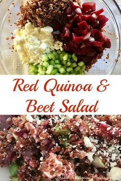 Red Quinoa Beet Salad is an easy to make and healthy side dish. Use peeled and steamed beets and feta to make this great salad that's perfect for brunch, barbecues, or weeknight dinners. Easy Brunch Recipes, Easy Holiday Recipes, Easy Salad Recipes, Healthy Recipes, Healthy Food, Brunch Ideas, Dinner Recipes, Healthy Side Dishes, Side Dishes Easy