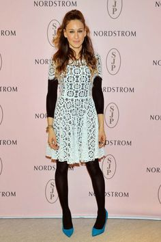 Sarah Jessica Parker wore a black unitard and lacy white dress to the L.A. launch of her Nordstrom-exclusive shoe collection, SJP.