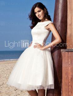 Audrey Hepburn Funny Face Ball Gown Bateau Knee-length Satin Tulle Wedding Dress - $149.99