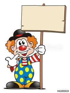 Clown with Board – Buy this stock illustration and explore similar illustrations at Adobe Stock - Obst Carnival Themed Party, Circus Theme, Circus Party, School Painting, Painting For Kids, Drawing For Kids, Clown Crafts, Circus Crafts, Artsy Background
