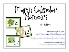 Free march calendar numbers