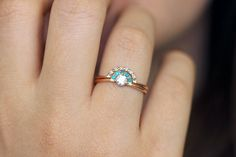 Bridal wedding set: diamond engagement ring with turquoise crown and a black diamonds wedding ring. Unique wedding set for the non-traditional bride. The