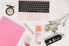 #apple, #macbook, #laptop, #flatlay, #highlighter, #mac, #cosmetics, #quote, #mascara, #toofaced, #jimmychoo, #perfume, #flowers, #bardou, #ysl, #tedbaker, #rosegold