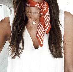 Neckerchief with gold layered necklaces