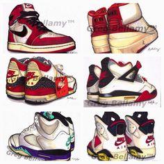 Air Jordan 1 2 3 4 5 6 Art
