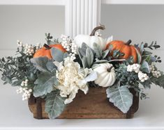 Fall Floral Arrangements, Floral Centerpieces, Thanksgiving Decorations, Holiday Decor, Green Hydrangea, Wood Planters, Fall Projects, Modern Farmhouse Decor, Mantles
