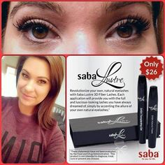 Saba Lustre Fiber Lash  $26   Free Shipping (Get THICK Gorgeous Lashes !!!) And while you are there...get yourself a 60ct bottle or some more Samples packs (dropdown menu) of Saba ACE Appetite Control & Energy...gives you appetite control AND ENERGY plus has vitamins !   Want to get them at Wholesale Cost?!! Call me and I'll fill you in on the details! Terri McClellan 713.882.5869  Saba Gold Level Distributor