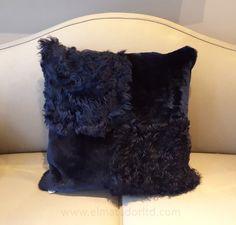 Navy Blue Shorn Lamb and Curly Toscana Lamb Cushion. Size: 50cm x 50cm
