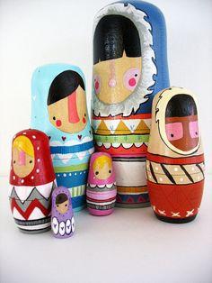 handmade wood folk art nesting dolls... wool sweater Eskimos