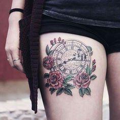 Clock and Roses Tattoo Peter Pan                              …