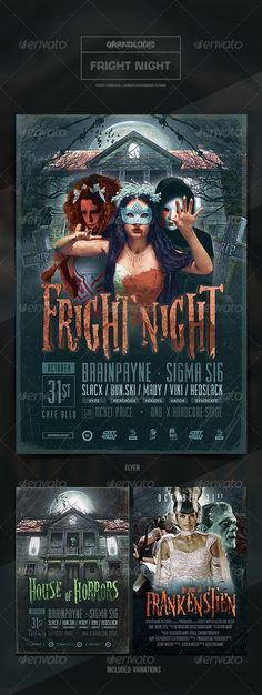 """Halloween Flyer/Poster  #GraphicRiver            Detail    Halloween Party Flyer/Poster    """"Fright Night""""  -This flyer was designed to promote a Halloween or horror-themed party/event. 2 alternate designs are also included. New and unique versions of the template can be achieved by adding and altering text, font style and layout, colors, as well as the addition & removal of objects and layers .   All elements shown, excluding the models and logos, are included in the PSD file.   Features…"""