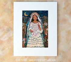 Hail Mary Catholic Biblical Wall Art Print by JenNortonArtStudio