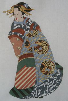 Handpainted Needlepoint Canvas Boots Bailey Japanese Geisha Koi Fish 7031 #BootsBailey