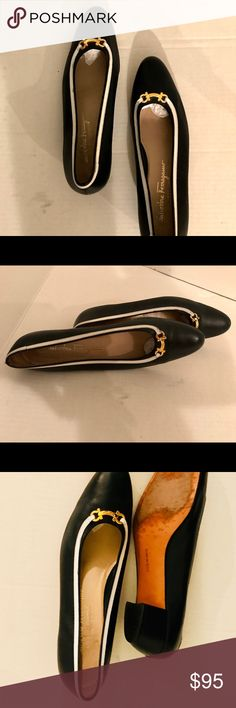 90's Circa Ferragamo Slip on Shoes, Size 10 These fabulous Ferragamo shoes are in navy and white with gold hardware. A true classic and investment shoe. Very gently worn, like 6 times these shoes are in pristine condition. There is signs of very slight wear on the soles. Please ask questions Ferragamo Shoes Heels