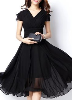 V Neck Cap Sleeve High Waist Dress on sale only US$23.10 now, buy cheap V Neck Cap Sleeve High Waist Dress at liligal.com