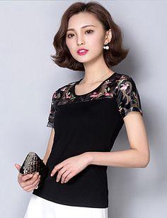 Women's Print Blue / Pink / White / Black Blouse,Round Neck Short Sleeve                       3X13
