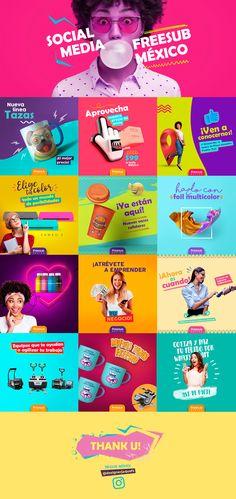 Social Media - FreeSub México on Behance Social Media Branding, Social Media Art, Social Media Poster, Social Media Detox, Social Media Banner, Social Media Quotes, Social Media Template, Social Media Content, Social Media Graphics