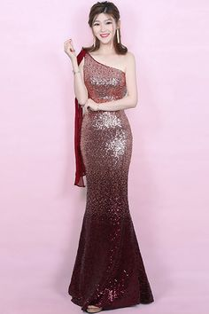 02d8e1a28d In Stock Alluring Sequins Lace   Chiffon One Shoulder Neckline Floor-length  Mermaid Evening Dress