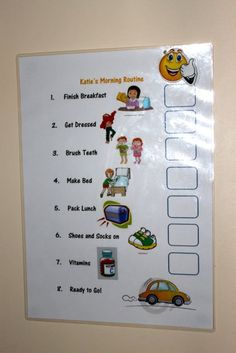VISUAL CHART - Morning School Routine. Could be modified to work with magnets. Morning Routine Chart, Morning Routine Kids, Activities For One Year Olds, Chore Board, Family Command Center, Chore Chart Kids, School Routines, Jethro, Visual Aids
