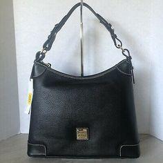 Dooney & Bourke Pebble Leather Hobo Bag Black R924  | eBay Black Pebbles, Change Purse, Shopper Tote, Wristlet Wallet, Medium Bags, Hobo Bag, Dooney Bourke, Pebbled Leather, Zip Around Wallet