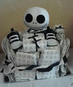 Nightmare Before Christmas Theme Diaper Cake With Skull Diapers N Skull  Shoes