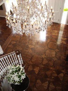 Roulette Pattern Parquet floor by Parquet by Dian Parquet Flooring, Floors, Living Spaces, Chandelier, Ceiling Lights, Lighting, House Styles, Gallery, Herringbone