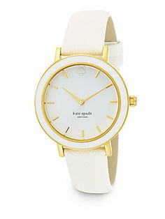 Kate Spade New York Metro Goldtone Stainless Steel Saffiano Leather Strap Watch/White