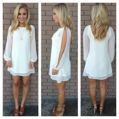 Ivory Long Sleeve Chiffon Dress | Dainty Hooligan Boutique