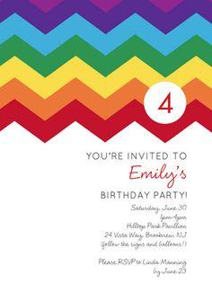 Rainbow Zig Zag Birthday Invitation