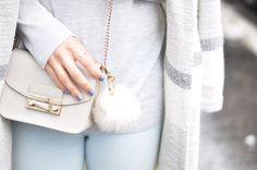 Furla Metropolis Bag   White Pom Pom   Fashionnes