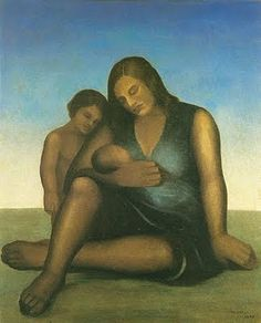 Maternidade  - Tarsila do Amaral - Art Deco, Naïve Art (Primitivism), 1938