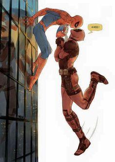 Marvel // Deadpool x Spiderman Deadpool X Spiderman, Batman, Dead Pool, Marvel Dc, Marvel Jokes, Wattpad, The Villain, Marvel Cinematic Universe, Yuri
