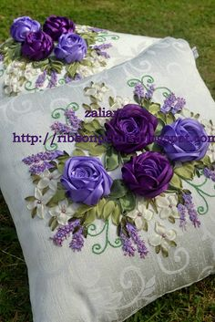 I ❤ ribbonwork . . .  Lavender & Purple Roses~By Zaliana, Ribbon Petals