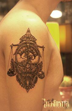 Klai Jakkawan Tattoo Studio / Design by Wanpracha / Tattoo by Gwarr #libratattoo #libra #tattoo #bangkok #thai #thailand