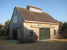 Natural weathered cedar vertical siding with white windows and natural trim. Barn Garage, Garage Exterior, Garage Doors, Garage Studio, Garage Workshop, Sliding Doors, Backyard Barn, Small Barns, Barn Shop