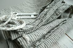 Stonewashed striped Linen bath towel  Natural  by pureWHITEspa