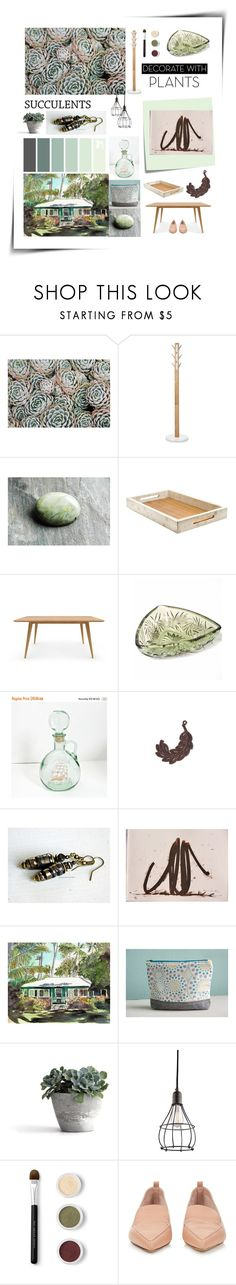 """Succulents"" by twosaddonkeys ❤ liked on Polyvore featuring interior, interiors, interior design, home, home decor, interior decorating, Post-It, Kichler, Bare Escentuals and Nicholas Kirkwood"