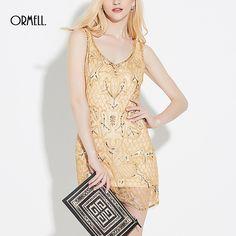 ORMELL Women Sexy V-Neck Glitter Dress Sleeveless Hot Club Vestidos Feminines Casual Slim Mini Gold Color Dress #sleevelessdress #minidress #4thofjuly