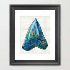 #shark #sharkstooth Blue Shark Tooth Art by Sharon Cummings Framed Art Print