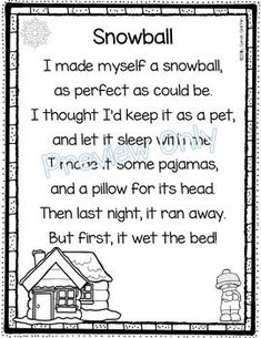 Image of: Homework Snowball Winter Poem For Kids Pinterest 39 Best Funny Poems For Kids Images Day Care Preschool Nursery Songs