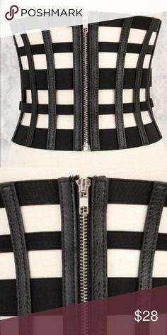 Caged Black Corset Belt (OS) All black fashion belt with caged bodice design. Belt zips in front haus Accessories Belts