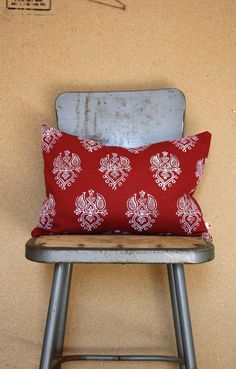 Heart Blossom Pillow - red block print from India