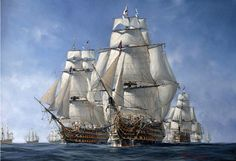 Hold the Line by Richard Grenville. HMS Temeraire, HMS Victory and HMS Neptune. Mid-morning on the 21st October 1805 and, in light wind, Admiral Lord Nelson's Fleet makes a slow approach towards the French/Spanish Lines.