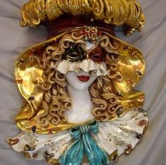 "ITALIAN COMEDY - COLUMBINA CERAMIC MASK (WALL DECOR): 20"" (50cm) Tall."