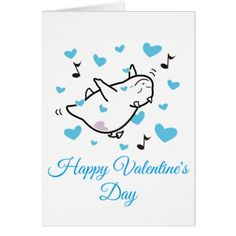 DBY in Blue Hearts Sky Happy Valentine's Day Card - individual customized unique ideas designs custom gift ideas