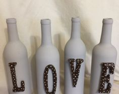 LOVE Decorated wine bottles Shabby chic Home by Shimmerysparkle
